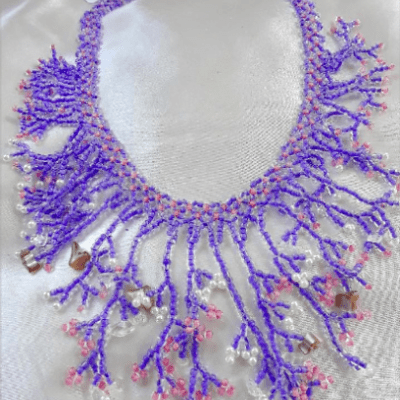 Blue, Pink and White Toho Bead Necklace