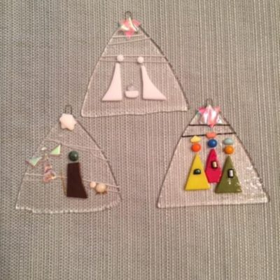 Set of Three Glass Nativity Ornaments