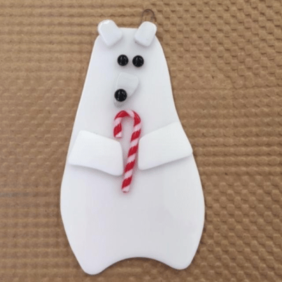 Glass Polar Bear Ornament