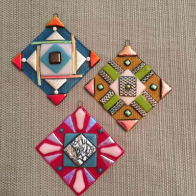 Set of 3 Fused Glass Quilt Ornaments