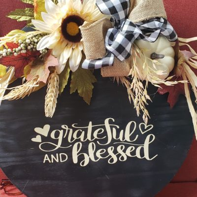 Grateful & Blessed Door Hanger