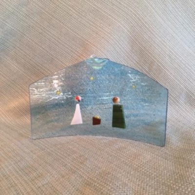 Small Standing Nativity Glass Art